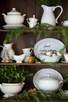 Display of ironstone for Christmas from French Country Cottage | Friday Christmas Favorites at www.andersonandgrant.com