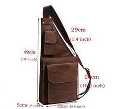 Mens Genuine Leather Buniess Crossbody Chest Pack Sling Backpack Shoulder Bag