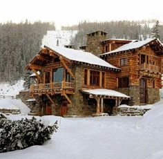 Beautiful Log Cabin Home..... Mainly in love with that huge window