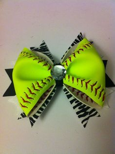 Hey, I found this really awesome Etsy listing at http://www.etsy.com/listing/150695597/softball-hair-bow-real-softball-all