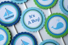 whale baby shower ideas | Items similar to Whale Baby Shower Cupcake Toppers - Set of 12 ...