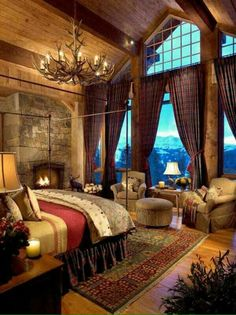 Tall ceiling and Windows with the curtains ❤