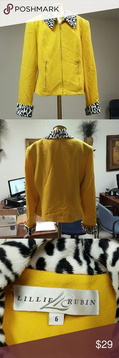 Wool Dress Jacket Great condition Gold Wool jacket with animal print collar and cuffs. Lining in great shape, no tears. Lillie Rubin Jackets & Coats Blazers