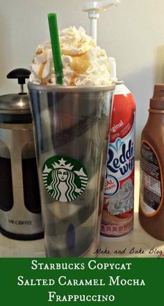 Starbucks Copycat Salted Caramel Mocha Frappuccino - Make and Bake Blog www.makeandbakeblog.com