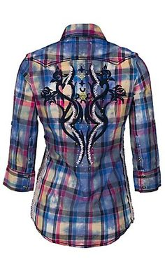 Roar® Women's Rambling Rose Embroidered Navy Plaid 3/4 Sleeve Western Shirt | Cavender's Boot City