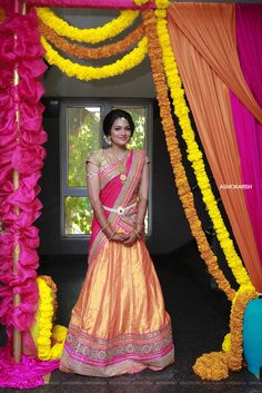 I wore a lehenga from Mina Bazaar in Bangalore. Half Saree Lehenga, Bridal Lehenga, Wedding Lehanga, Wedding Sarees, Indian Dresses, Indian Outfits, Indian Clothes, Half Saree Function, Modern Saree