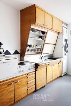 Image result for angled cabinet kitchen retro