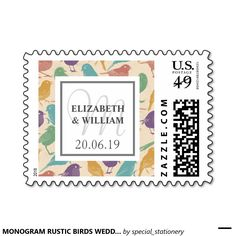 MONOGRAM RUSTIC BIRDS WEDDING CUSTOM POSTAGE STAMP #MONOGRAMSTAMP #RUSTICBIRDS #COUPLE #WEDDING #LOVE