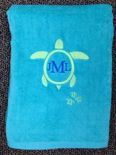 Monogrammed Beach Towel my Doodlz Designz.
