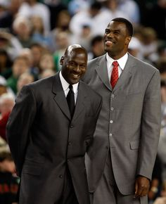 Michael Jordan and David Robinson are announced as members of the 2009 Hall-of-Fame class at halftime of the Michigan State Spartans and the North Carolina Tar Heels during the 2009 NCAA Division I Men's Basketball National Championship game