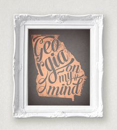 Georgia On My Mind State Print 8 x 10 by InkLaneDesign on Etsy, $4.99