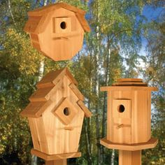 "Birdhouse Village II Pattern. Attract colorful song birds to your yard with these uniquely styled cedar birdhouses. Designed for years of enjoyment with easy clean-outs! Largest is 17""H x 12""W x 7""D. Parts Req'd : Dowel (1) W-120 Pattern #2032 $10.95 ( crafting, crafts, woodcraft, pattern, woodworking ) Pattern by Sherwood Creations"
