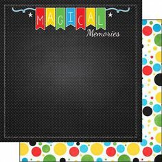 Scrapbook Customs - 12 x 12 Double Sided Paper - Magical Memories Dots 12x12 Scrapbook Paper, Scrapbook Borders, Scrapbook Designs, Disney Scrapbook, Scrapbook Sketches, Baby Scrapbook, Travel Scrapbook, Scrapbooking Layouts, Scrapbook Cards