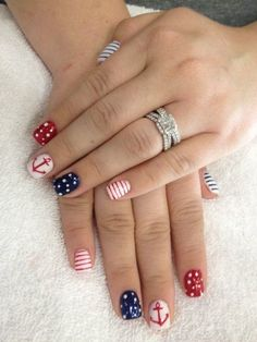 patriotic nail art anchor nails of July nail designs red white and blue Anchor Nail Designs, Anchor Nail Art, Nail Art Designs, Pedicure Designs, Simple Nail Designs, Pedicure Ideas, Nails Design, Nails With Anchor Design, Blue Nails