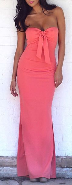 Coral Bow Front Maxi Dress ♥