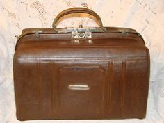 Vintage Brown Leather Carry On Overnight Bag Suitcase 1920's