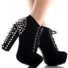 Black Suede Lace Up Spike Studded Womens Platform High Heel Platform Ankle Boots, Platform High Heels, Black Stilettos, Black Suede, Studs, Shoes Heels, Lace Up, Stuff To Buy, Spikes