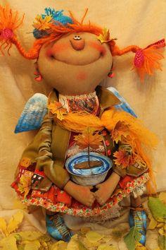 Купить Шалунья-Осень!... - разноцветный, текстильная кукла, ароматизированная кукла, интерьерная кукла, осень, ангел