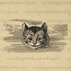 Printable Cheshire Cat Alice in Wonderland Digital Image Cheshire Cat Graphic Download Vintage Clip Art Jpg Png Vector Print 300dpi No.052 @ vintageretroantique.com #DigitalArt #Printable #Art #VintageRetroAntique #Digital #Clipart #Download