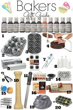 Every baker who loves baking needs and wants all this helpful and fun baking items. This bakers gift guide is a must have if you have a passion for baking or know someone who does. Baking recipes for kids Baking Gadgets, Baking Items, Baking Tools, Kitchen Gadgets, Baking Gift, Cake Baking Supplies, Baking Products, Kids Baking, Baking Pan