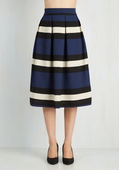 Demure Galore Skirt. Its no wonder youve acquired so many admirers - your prim style sense is as sharp as the lines of your pleated midi! #blue #modcloth