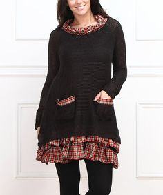 Another great find on #zulily! Black & Red Plaid-Accent Tunic - Plus #zulilyfinds