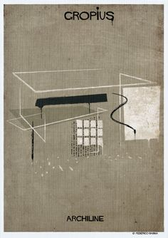 Image 2 of 18 from gallery of Federico Babina's ARCHILINE Paints the Essence of Architecture's Greatest Works. Photograph by Federico Babina Walter Gropius, Bauhaus, Graphisches Design, Urban Design, Famous Architects, Art For Art Sake, Built Environment, Great Words, Architecture Art