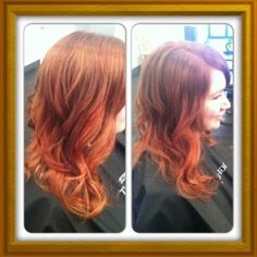red hair ombre' copper red curly wavy curling iron hair by Anna Evans-Bayer