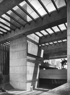 Brutalism Delegacion Cuauhtémoc, Mexico City, Mexico, 1970s  (Abraham Zabludovsky and Teodoro González de León