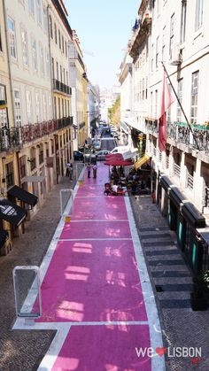 Pink road at Cais do Sodre - Lisbon is right in the former old red light district is now a nightlife hub, packed with vibrant restaurants and pubs.