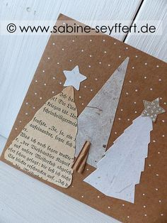 müllbasteln DIY craft idea: Homemade Christmas mail made of kraft paper with a fir tree How to Shop Christmas Mail, Christmas Cards To Make, Green Christmas, Homemade Christmas, Xmas Cards, Diy Cards, Christmas Crafts, Greeting & Note Cards, Xmas Greetings