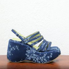 Vintage 90s Revival Fornarina Blue Asian Chinoisrie Floral Brocade Print Platform Wedge Strappy Sandals Club Kid Rave Cyber