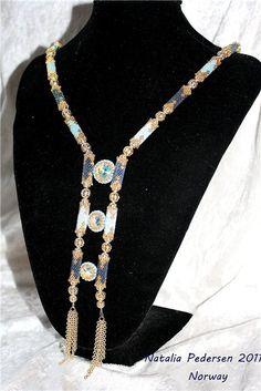 'Blue domes' necklace - by Natalia Pedersen   biser.info