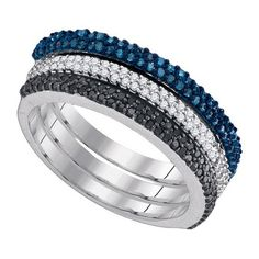 0.63 carat diamond ring in 10k white gold with blue, white, black diamond