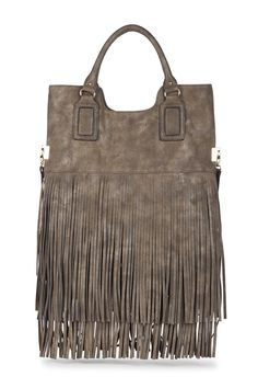 Bronze foldover fringe tote by Sole Society