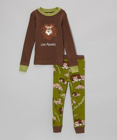 Take a look at this Brown & Green 'Lion Around' Pajama Set - Toddler & Kids by Lazy One on #zulily today! $16