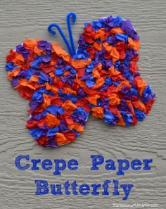 This crepe paper butterfly craft is a great spring and summertime craft for kids. #summertimecraftforkids