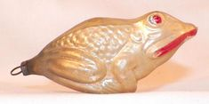 Antique Christmas Ornament Mercury Glass Frog Blown Gold Pink Large #315