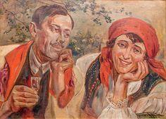 Wincenty Wodzinowski: Wiejska para olej, tektura, 49 × 69 cm w świetle ramy sygn. p. d. W.Wodzinowski