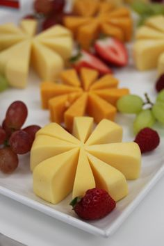 Cheese flowers and fruit