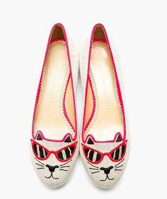 Be a cool cat this Spring in these Charlotte Olympia Fluorescent Pink Canvas Sunkissed Kitty Embroidered Flats