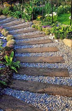 Railway timbers and pea gravel!
