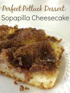 Easy, impressive dessert, perfect for a potluck: Sopapilla Cheesecake with a cinnamon-sugary crust!