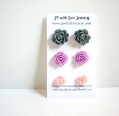 Flower Stud earrings lilac pink gray rose flower by JPwithLove, $18.00