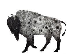 Bison Print 8X10 (ink bubble drawing reproduction print) art buffalo. $20.00, via Etsy.