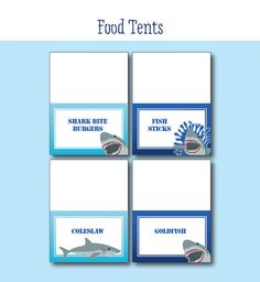 Shark Birthday Party - FOOD LABELS - Printable Shark Decorations - Printable…