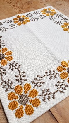 Beautiful floral/autumn cross stitch embroidered tablecloth in white linen from Sweden Beautiful floral/autumn cross stitch embroidered tablecloth in Cross Stitch Borders, Crochet Borders, Cross Stitch Flowers, Cross Stitch Designs, Cross Stitching, Cross Stitch Embroidery, Cross Stitch Patterns, Hand Embroidery Patterns, Knitting Patterns