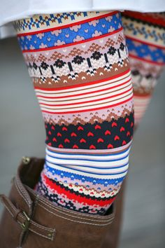 mixed patterned leggings