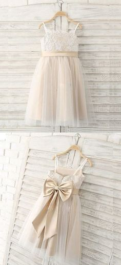 A-Line Spaghetti Straps Light Champagne Flower Girl Dress with Lace