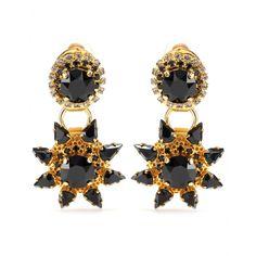 Gold-Plated Clip-On Earrings With Crystal Embellishment + Erdem : mytheresa